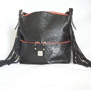 Fringed Dooney and Bourke Ostrich Hobo